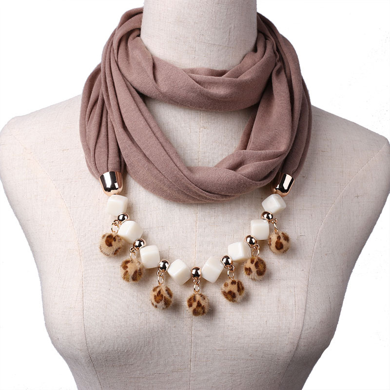 TagerWilen Pendant Scarf Necklace Beads Hairball Tassels Necklaces For Women Polyester Scarves Jewelry Wrap Accessories X-07