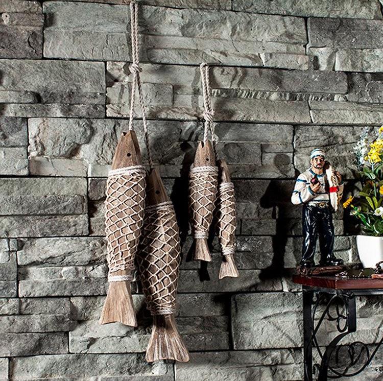 Mjete peshku prej druri mesdhetar të gdhendur në mur prej druri të - Dekor në shtëpi - Foto 4