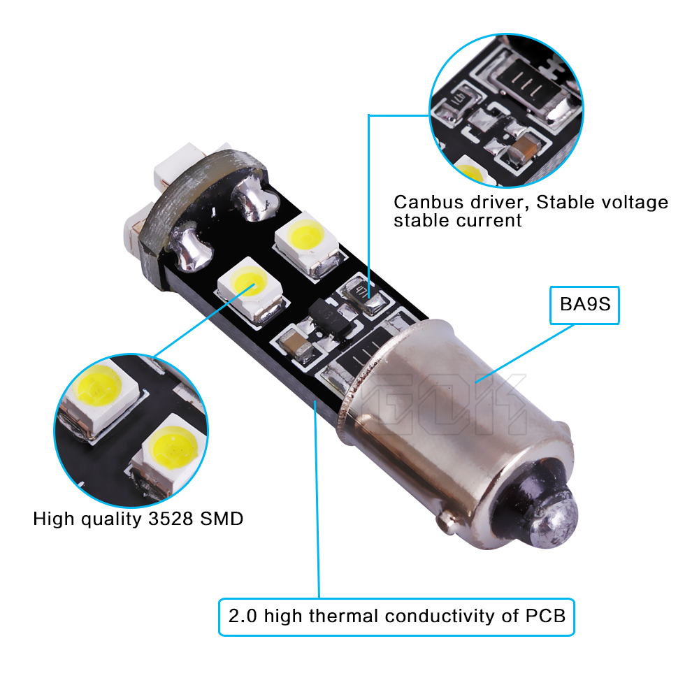 Free shipping 10pcs lot hot selling Car Auto LED BA9S led 194 W5W Canbus ba9s 8smd 3528 1210 LED Light Bulb No error led light in Signal Lamp from Automobiles Motorcycles