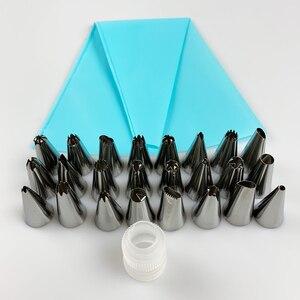 Image 4 - 26 sztuk/zestaw silikonowa torba cukiernicza porady kuchnia DIY oblodzenie rurociągi krem wielokrotnego użytku torba cukiernicza s + 24 zestaw dyszy ciasto dekorowanie narz...