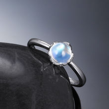 JEWELLWANG Natural Blue Moonstone Solid Sterling 925 Silver Live Romantic Mining Real Moonstone Ring for Women Exquisite Gifts
