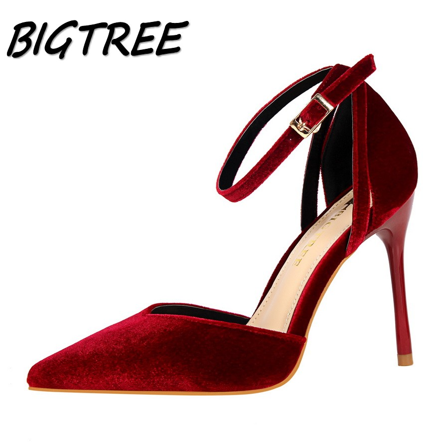 BIGTREE summer women pointed toe High heel shoes woman flock Shallow pumps Fashion ladies Hollow out Sexy stilettos shoes new 2017 spring summer women shoes pointed toe high quality brand fashion womens flats ladies plus size 41 sweet flock t179