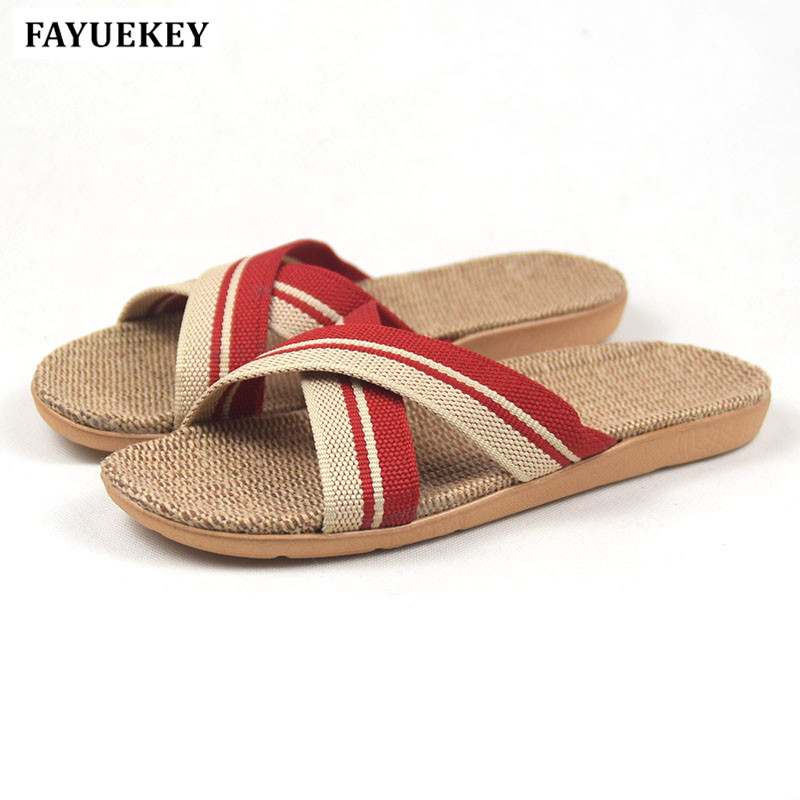 FAYUEKEY New Fashion Summer Home Striped Cross Linen Slippers Women Indoor\ Floor Non-slip Beach Slides Flat Shoes Girls Gift coolsa women s summer flat non slip linen slippers indoor breathable flip flops women s brand stripe flax slippers women slides