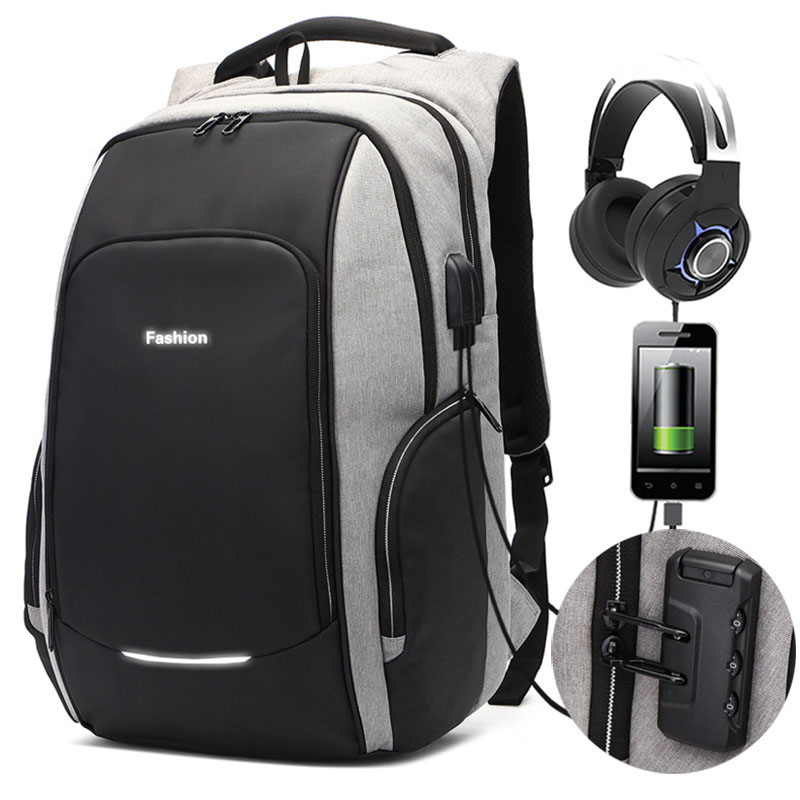 New Anti-theft Password Locks Backpack 15.6/17 inch Laptop USB Charging Backpack Business Travel Backpacks Men Bag SchoolNew Anti-theft Password Locks Backpack 15.6/17 inch Laptop USB Charging Backpack Business Travel Backpacks Men Bag School
