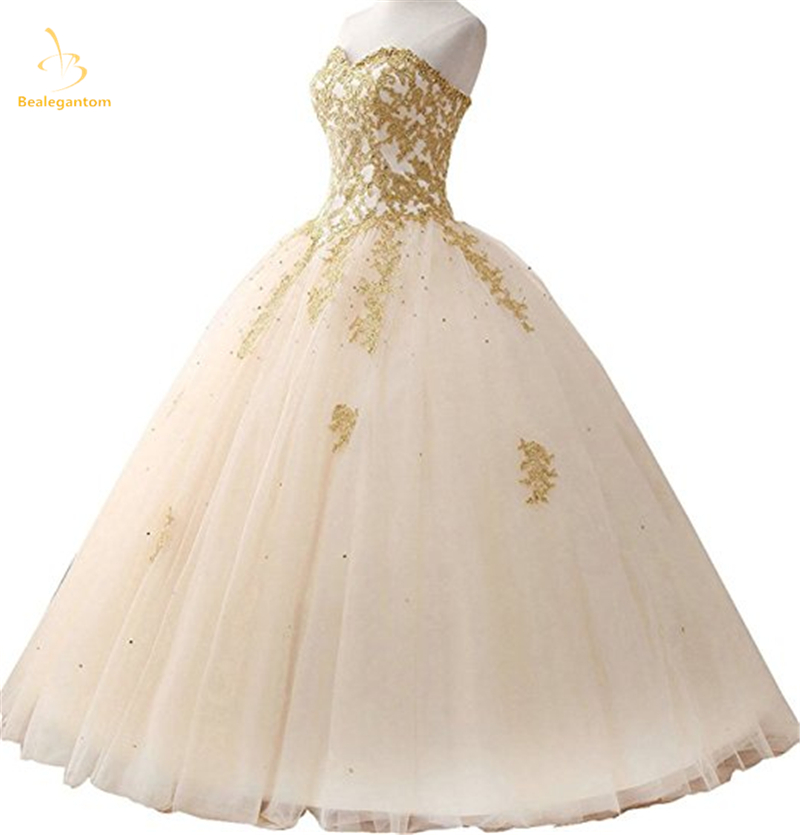 Angelsbridep Gold Appliques Ball Gown Quinceanera Dress 2019 Sparkle  Crystal Tulle Floor-length Sweet 16 Dress Debutante Gowns 5cfeacb5a667