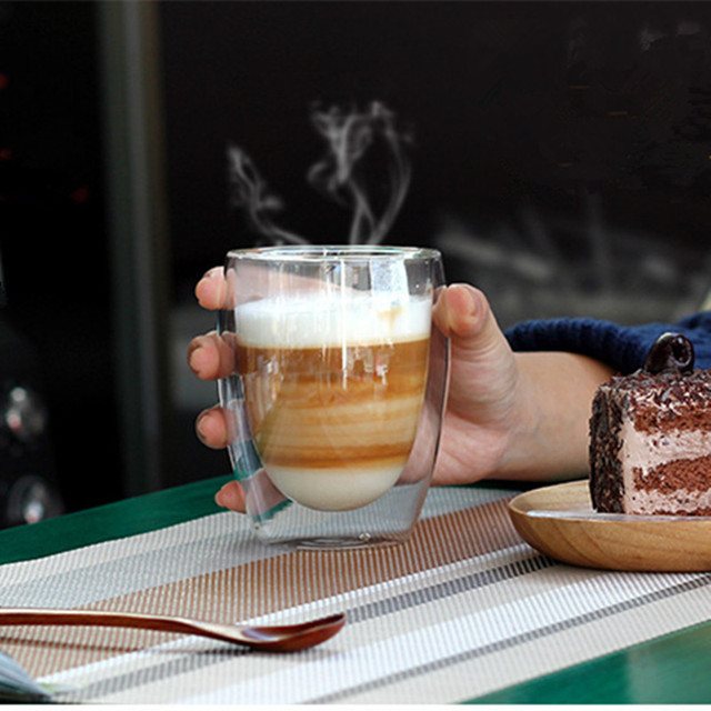 Heat Resistant Double Wall Glass coffe Cup Beer Tea Coffee Espresso Cup Handmade Creative Healthy Beverage Glasses Transparent