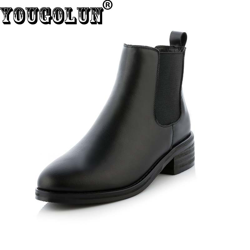 ФОТО YOUGOLUN Women Spring Autumn Genuine Leather Ankle Boots Fashion Lady Low Square Heel Shoes Elegant Woman Black Round toe Shoes