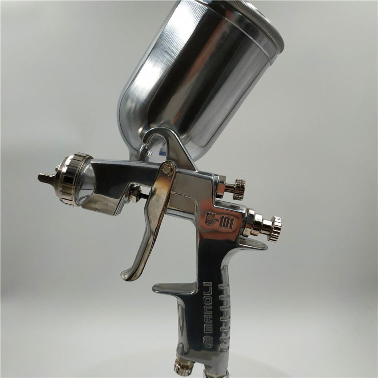 free shipping,Manoli manual Spray gun W-101, gravity suction pressure feed type, W101 painting gun, good atomization,HVLP gun