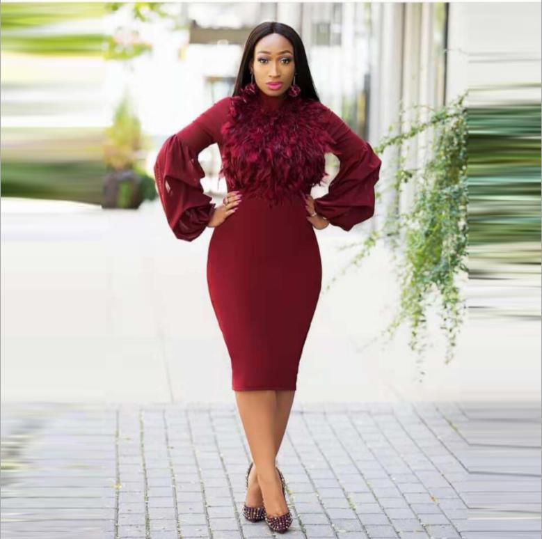 2018 Hot Sale Africa Women Mesh Pearl Plus Size embroidered Peplum Midi Bodycon Dress