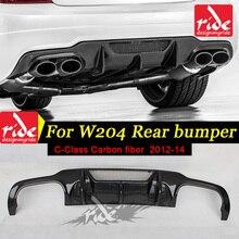 W204 Carbon Fiber Rear Diffuser for Mercedes-Ben C-Class C180 C200 C260 C300 c350 C400 & C63AMG Sport Bumper 2012-2014