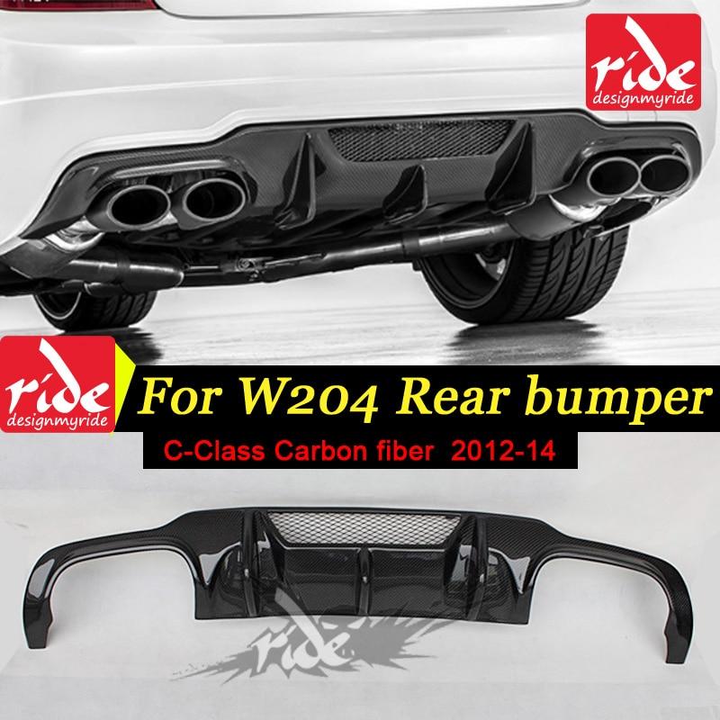 W204 Carbon Fiber Rear Diffuser for Mercedes Ben W204 C Class C180 C200 C260 C300 c350 C400 & C63AMG Sport Rear Bumper 2012 2014