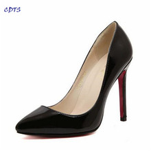 Crossdresser Plus size spring brand 2017 red bottom 12cm thin heels women wedding pumps patent leather pointed toe ladies shoes