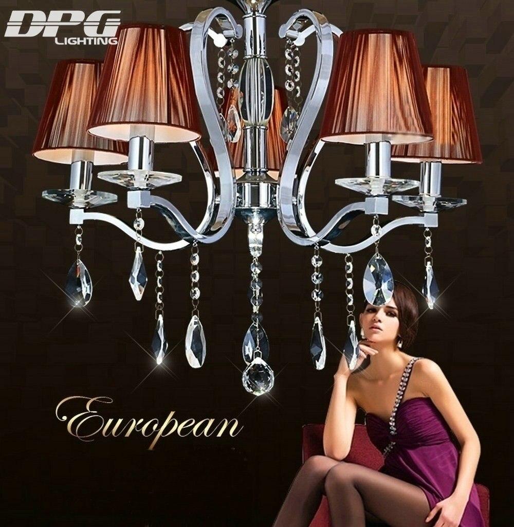 Modern K9 crystal chandeliers lights 220v 110v E14 LED polished chrome flush mount with down shades home lighting living room