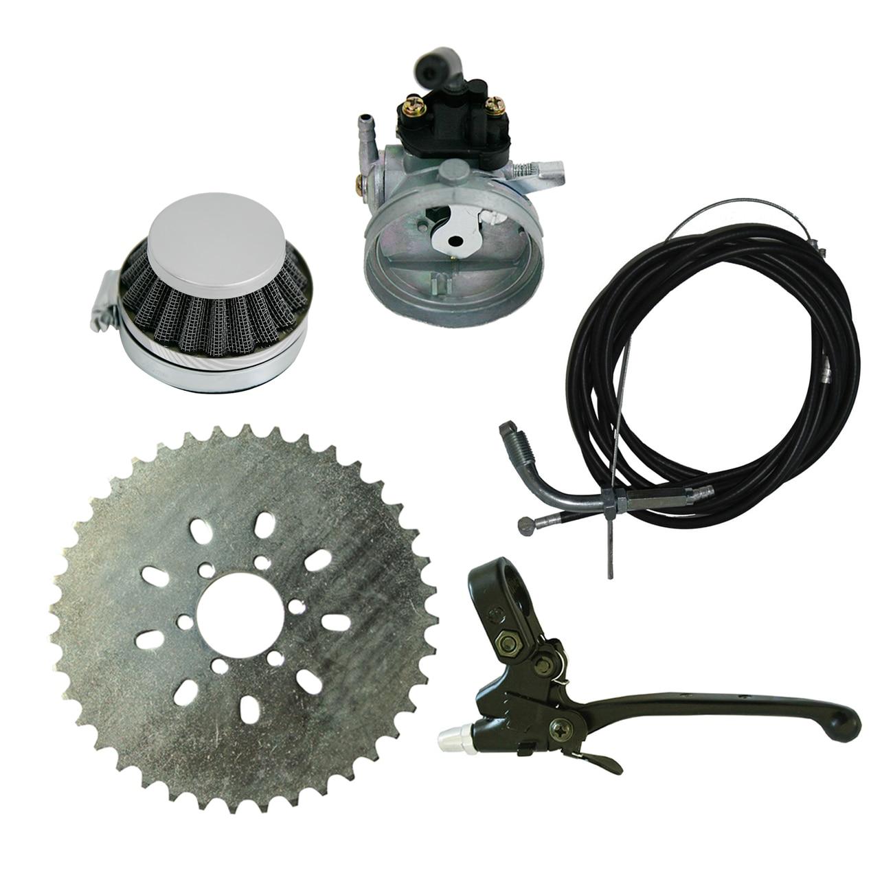 Kit carburateur et pignon de levier d'embrayage pour vélo motorisé 60cc 66cc 80cc
