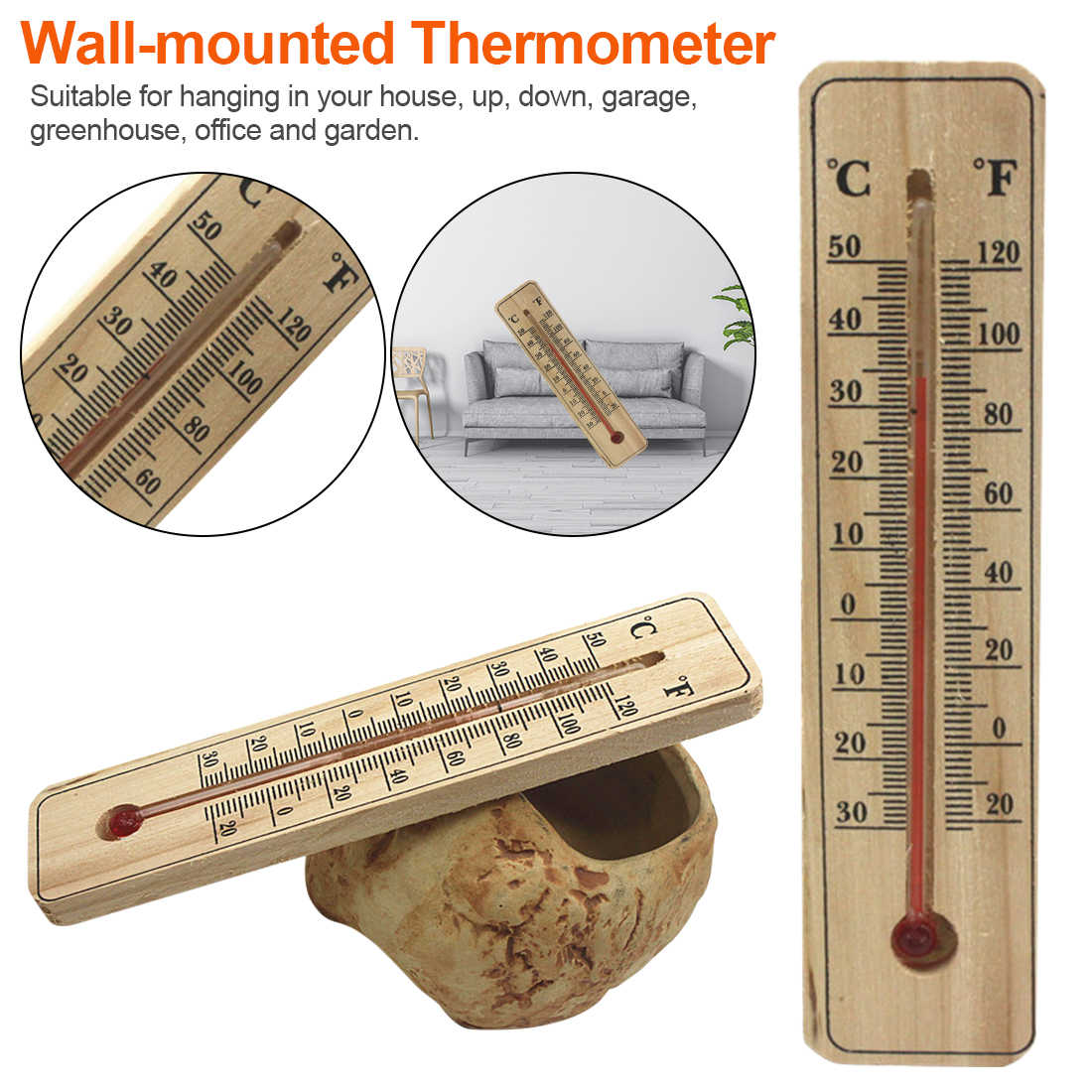 Wall Hung Thermometer Temperature for Indoor Outdoor Garden  Garage Office Room Hung Logger Thermometer Indoor