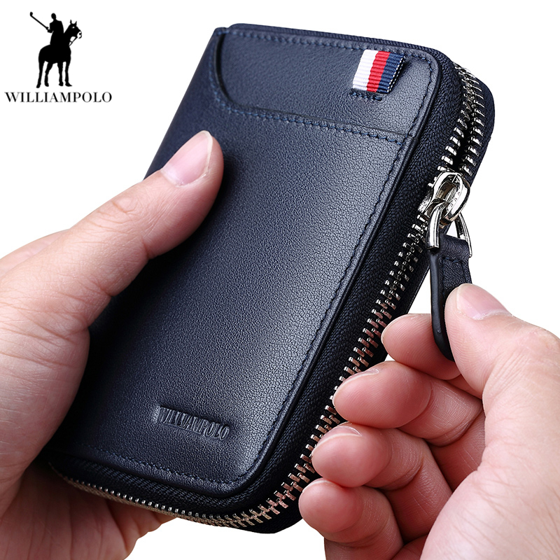 WILLIAMPOLO Cow Leather Wallet Male Small Wallet Case Card Holder Men Wallet with Coin Purse Pockets Zipper Wallets PL283 все цены