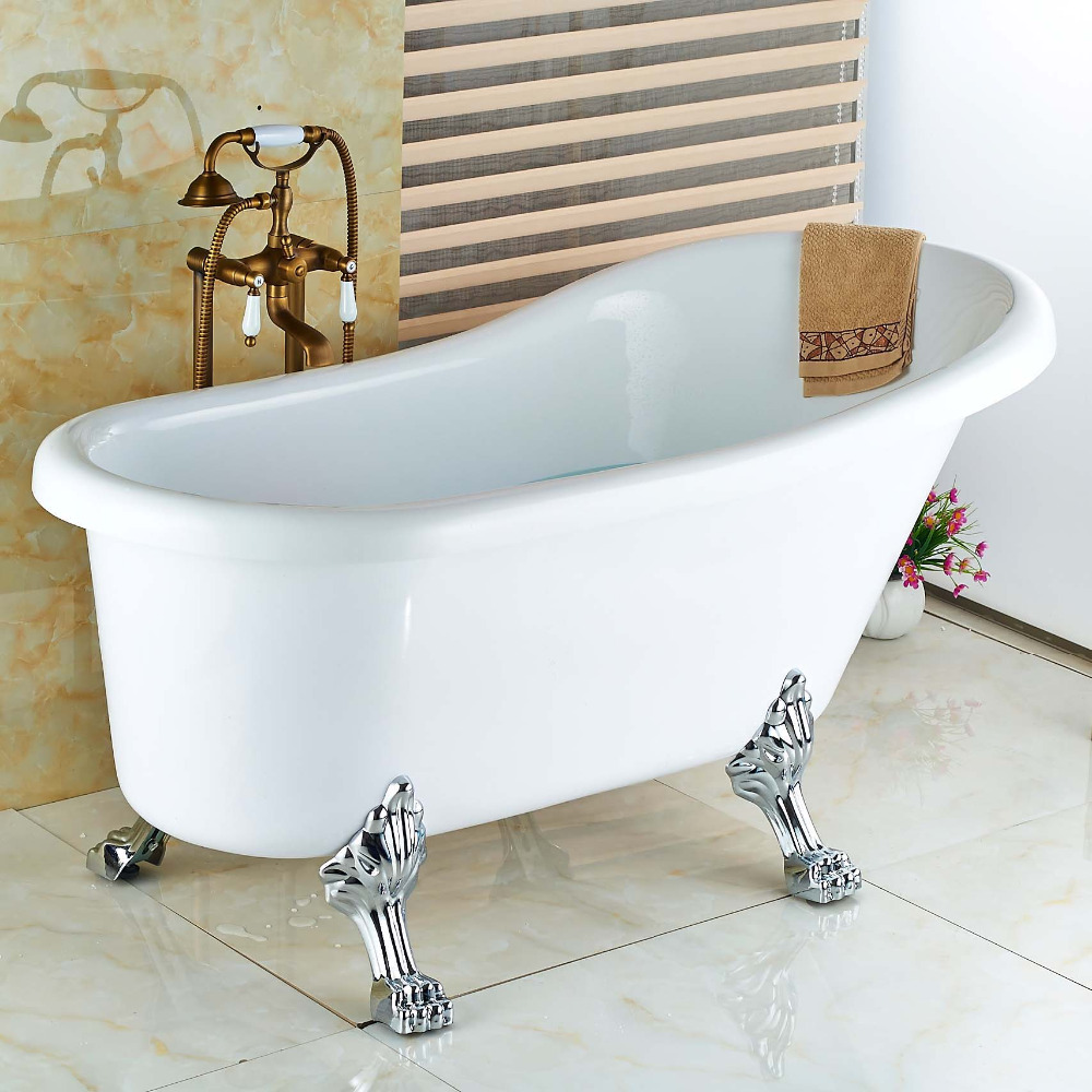Free Standing Antique Brass Floor Mounted Bathtub Mixer Tap Faucet W/Hand Shower ...