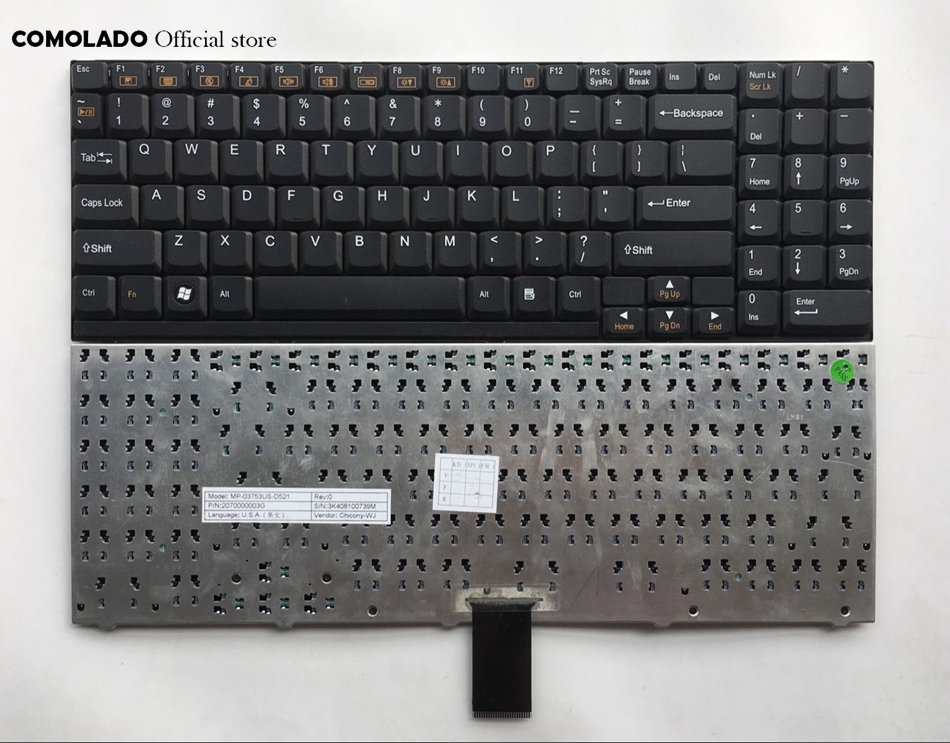 Laptop Keyboard for CLEVO W510TU-P W510TU-R W510TU-L W515TU W515LU W515PU W515PU-P W515PU-W W517PU United States US with Black Frame
