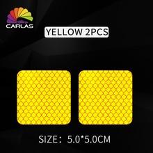 CARLAS 3X3cm/5X5cm Car Trunk Tail Wheel Eyebrow OPEN Door Stickers Bumper Reflective Strips Secure Square Reflector