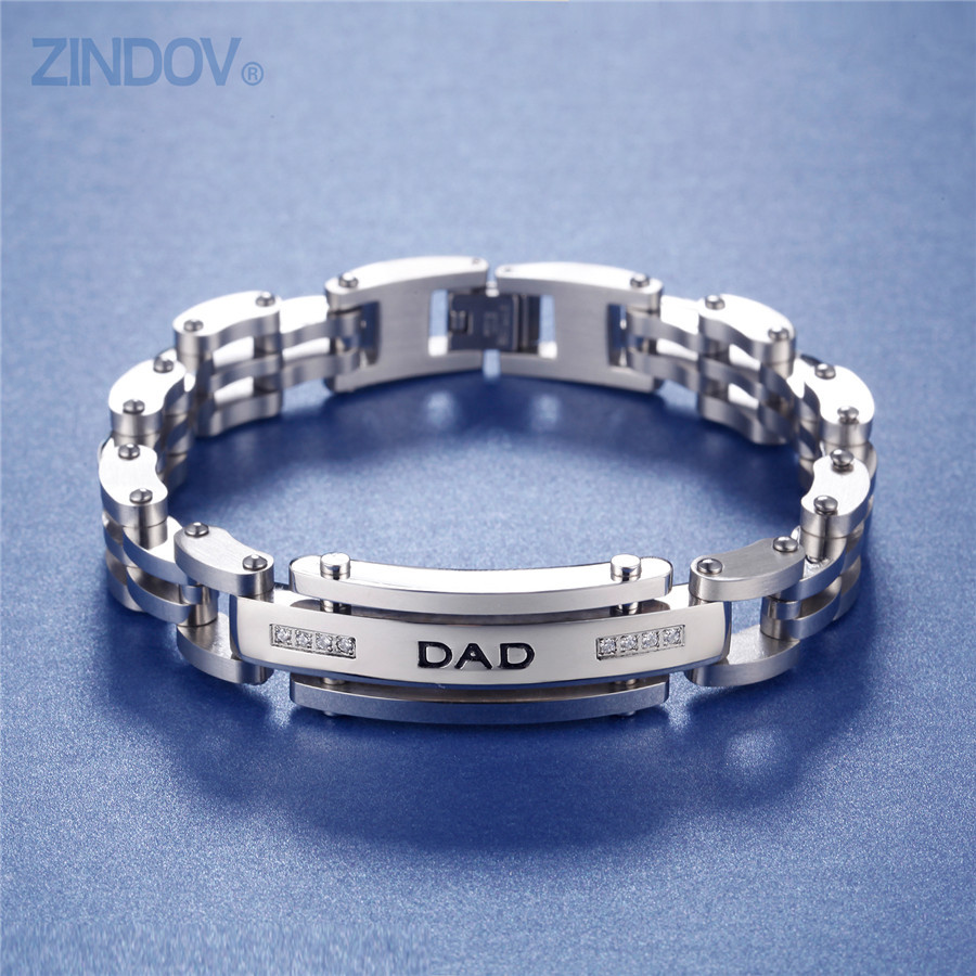 Stainless Steel Bracelet Charms: ZINDOV Stainless Steel ID Bracelets/Bangles
