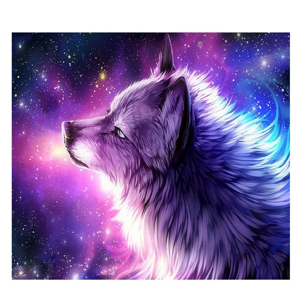 35x30cm Round Diamond Embroidery Painting Purple Wolf DIY