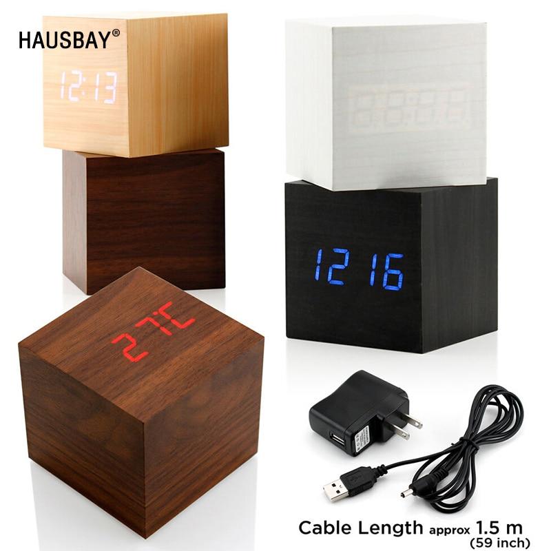 Promotion! Quality Digital LED Alarm Clock, Temperature Sounds Control LED display desktop USB/AAA Powered Digital table clocks