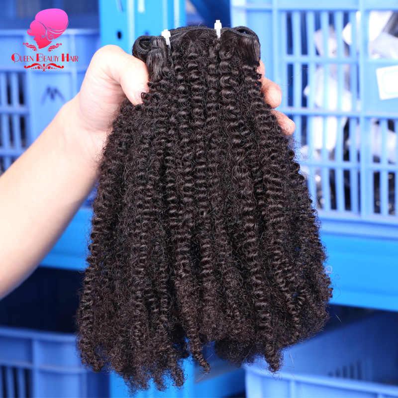 Ratu Kecantikan 1/3/4 Buah Afro Kinky Curly Coily Brasil Rambut Menenun Remy Ekstensi Rambut Manusia warna Alami Gratis Pengiriman