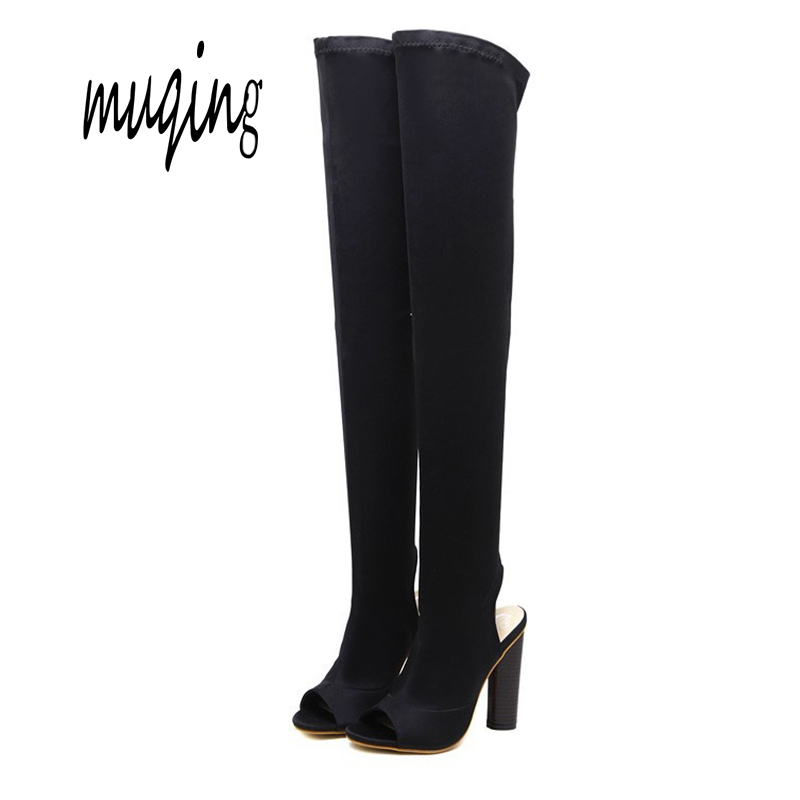 Muqing Fashion Women High Boots Spring Autumn High Heels Over The Knee Sexy Peep Toe Open Toe Booties Shoes 7N0040
