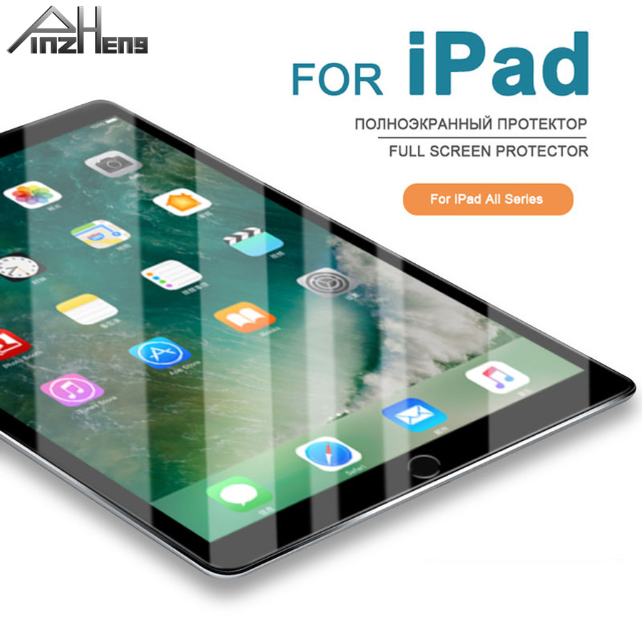 PINZHENG Full Cover Tempered Glass For iPad Air 2 3 4 5 6 Pro Screen Protector For iPad Mini 2 1 3 4 9.7 Protective Glass Film tempered glass for lenovo miix 310 320 3 4 5 pro 510 700 720 miix4 miix5 10 1 12 12 2 tablet screen protector film