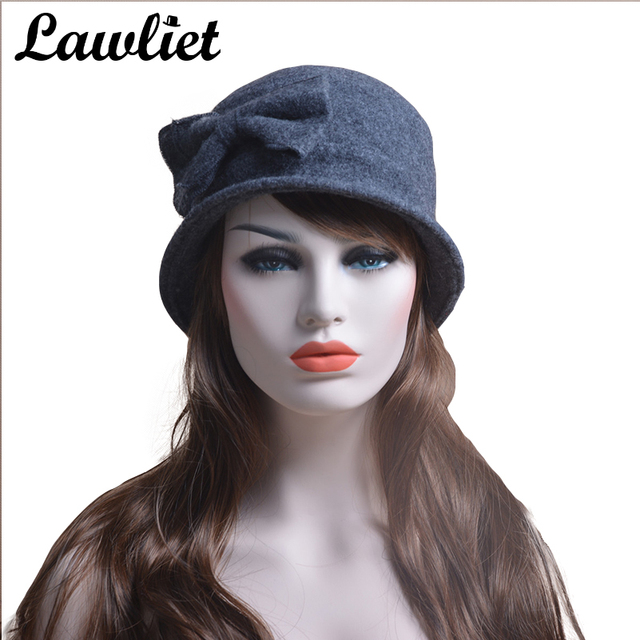 Womens Hats Ladies Cap Nice Bow 100% Wool Hats Crochet Bucket Cloche  Beanies Winter Cap Hats T174 4a33c46162b