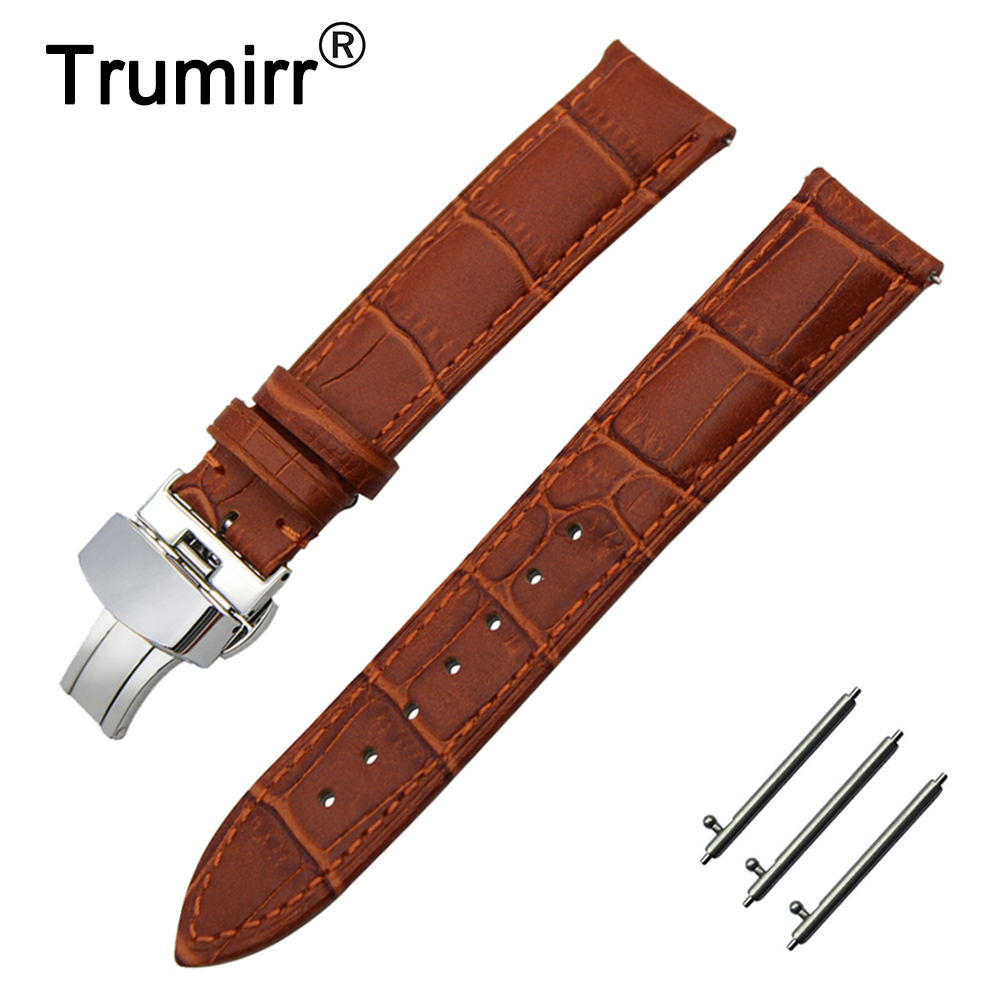 20mm 22mm Calf Genuine Leather Watchband Quick Release Strap for IWC Watch Butterfly Buckle Band Wrist Belt Bracelet Black Brown цена и фото