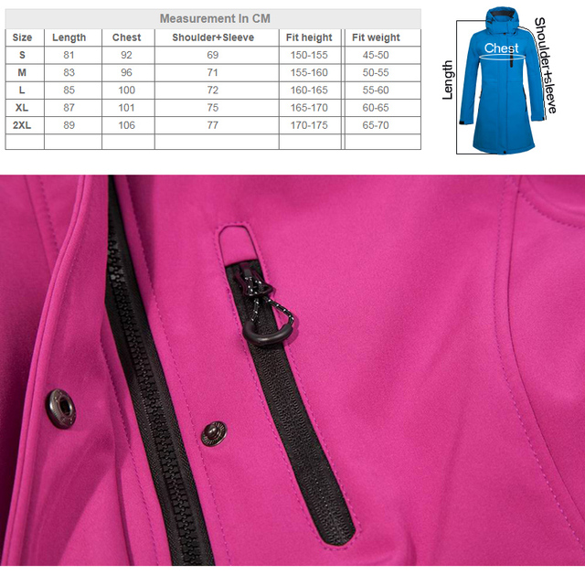 THE ARCTIC LIGHT Camping Fleece Waterproof Soft shell Jacket Women Outdoor Impermeable Long Hiking Coat Hunting Clothes