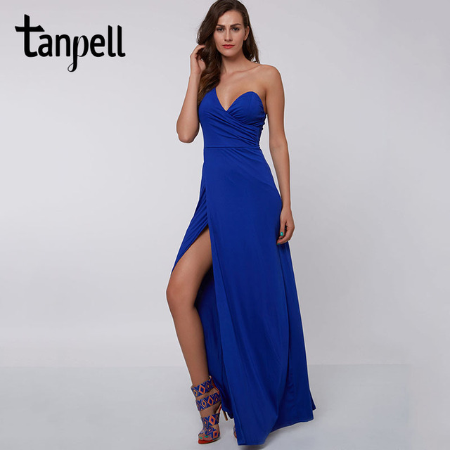 Tanpell anteriore spaccato vestito da sera a buon mercato sexy royal blue  Pavimento-lunghezza vestito d9c64ba662c