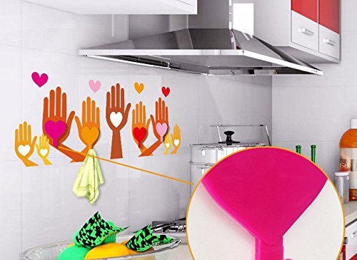 PVC Kitchen Removable Wall Stikcer with Love Palm Shape Hook for Kitchen Home Decor Wall Paper Decals
