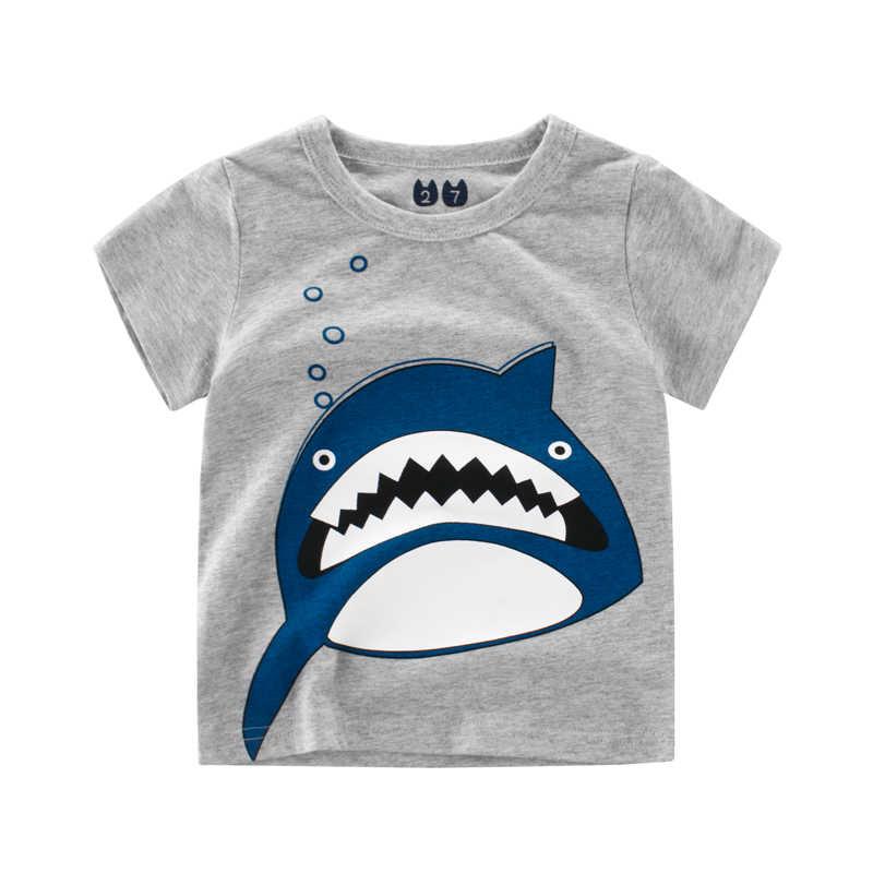 aefe6ceb7a75 2018 Boys T-Shirts Clothing Cotton Short Sleeve Novelty Design Shark Printed  Pattern Children T
