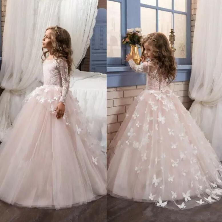 New Long Sleeves Flower Girl Dresses Lace Back Button Solid O-neck First Communion Gown Vestido De Daminha  New Long Sleeves Flower Girl Dresses Lace Back Button Solid O-neck First Communion Gown Vestido De Daminha