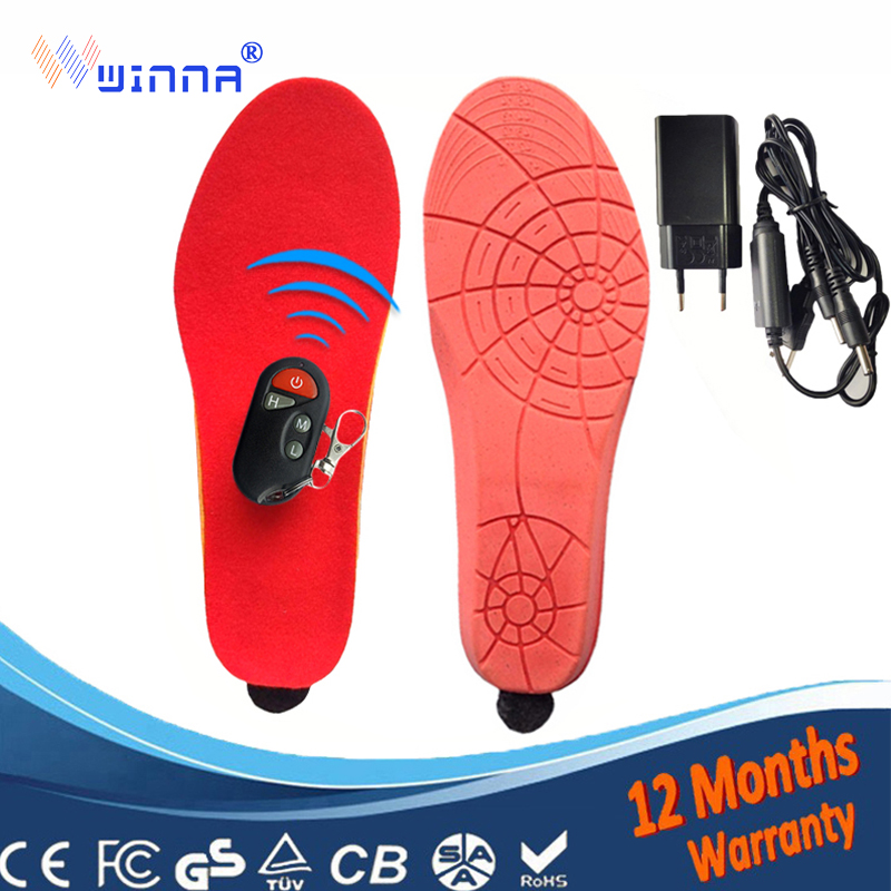 Heating insoles Battery Winter thick insole plush Powered With Wireless Remote Type Black red Memory Foam