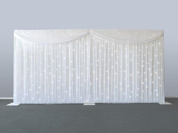 6 m/20ft (w) x 3 m/10ft (h) starlit contesti di Nozze sipario matrimonio puntelli sfondo velo compreso tenda e illuminazione