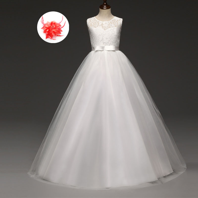 Children Princess Party Tule Long Lace Pageant Ball Gowns Wedding Dress for The Flower Girl Kid White Dresses 2017