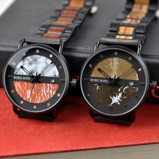Men's Round Shaped Mechanical Wooden Watch