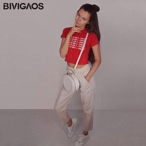Image 4 - Bivigaos 2019 primavera nova womens algodão macacão casual nona harem calças senhoras rabanete lápis calças soltas calças de carga do vintage