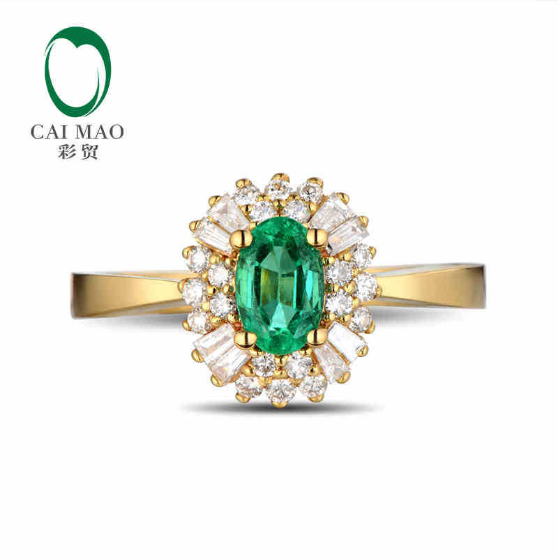 CaiMao 0.51ct Natural Emerald 18KT/750 Yellow Gold 0.38ct Full Cut Diamond Engagement Ring Jewelry Gemstone electric foot dead skin exfoliator callus remover rechargeable pedicure foot care tool feet dry skin removal