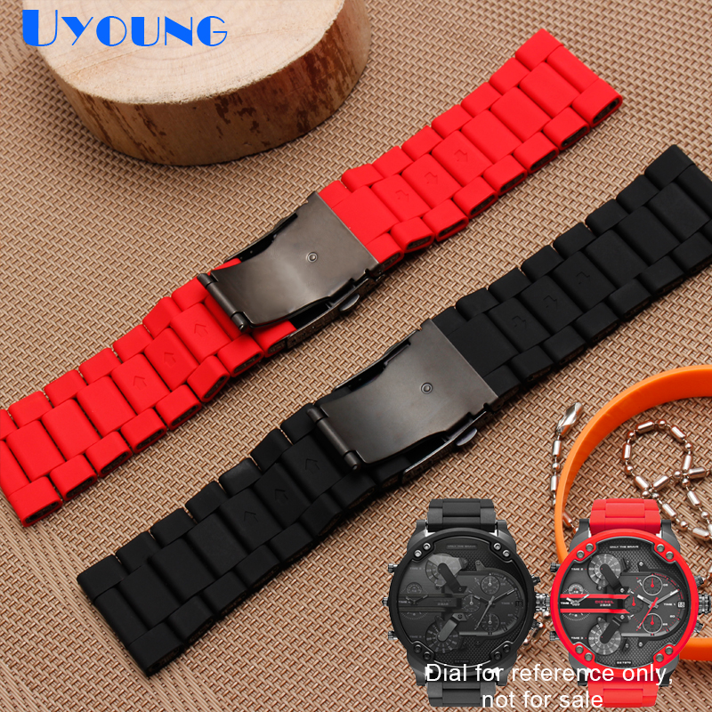 Image 5 - silicone rubber watch band mens waterproof for diesel watch strap bracelet band 28mm DZ7370 DZ7396 DZ428 stainless steel b-in Watchbands from Watches