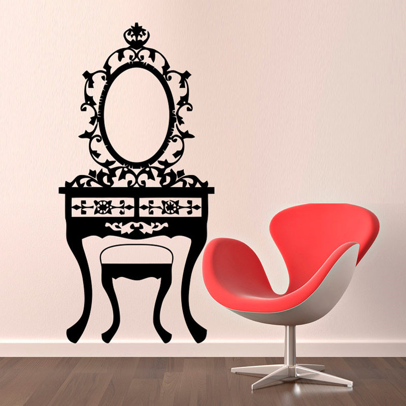 US $11.18 20% OFF|Girl Bedroom Mirror Toilet Table Wall Sticker Black  Hollow Out Home Decor Vinyl Art Wall Mural-in Wall Stickers from Home &  Garden ...