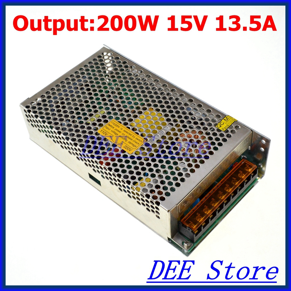 Led driver 200W 15V 13.5A Single Output Switching power supply unit for LED Strip light AC-DC Converter led driver 1200w 24v 0v 26 4v 50a single output switching power supply unit for led strip light universal ac dc converter