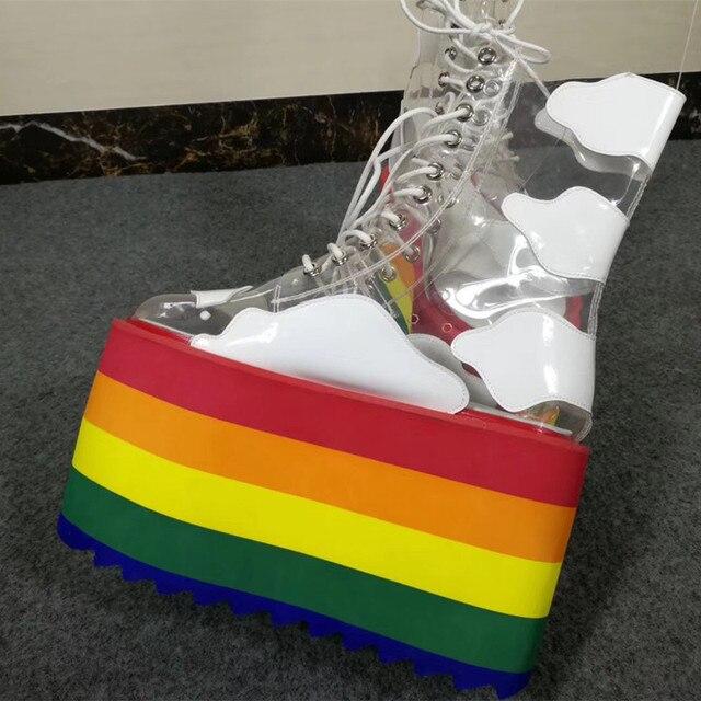 Super High Heel Flat Platform Sneakers Rainbow Color EVA Sole PVC Transparent Leather patchwork White Shoes Women