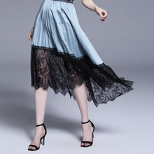 Womens Clothing Brand womens European and American spring summer new lace stitching irregular