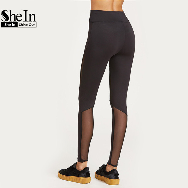 Fashion Leggings Womens Black Wide Waistband Mesh Insert Casual Leggings
