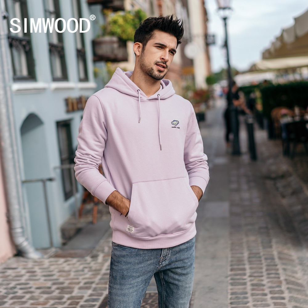 SIMWOOD Hot Sale 2019 Autumn New Hoodies Men Fashion Plus Size Thick Hooded Sweatshirts High Quality Brand Clothes 180480