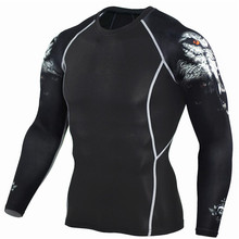 Men Compression Shirts MMA Rashguard Keep Fit Fitness Long Sleeves Base Layer Skin Tight Weight Lifting Elastic running T
